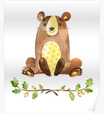 Cute Adorable Watercolor Woodland Bear Poster