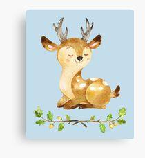 Cute Adorable Watercolor Woodland Baby Deer Canvas Print