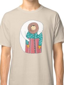 Lady And Her Polar Bear Friend Classic T-Shirt