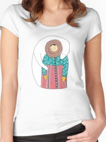 Lady And Her Polar Bear Friend Women's Fitted Scoop T-Shirt