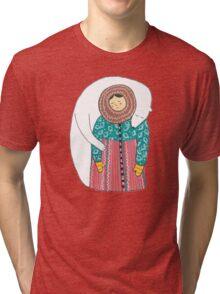Lady And Her Polar Bear Friend Tri-blend T-Shirt