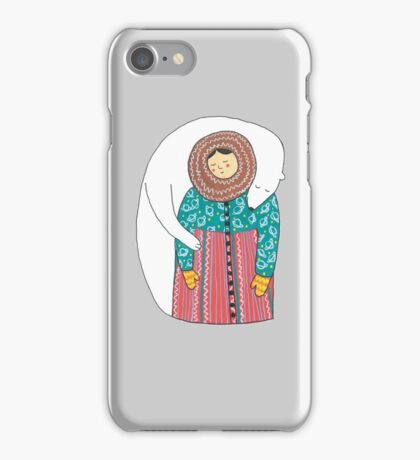 Lady And Her Polar Bear Friend iPhone Case/Skin