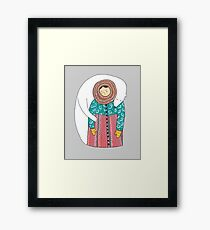 Lady And Her Polar Bear Friend Framed Print