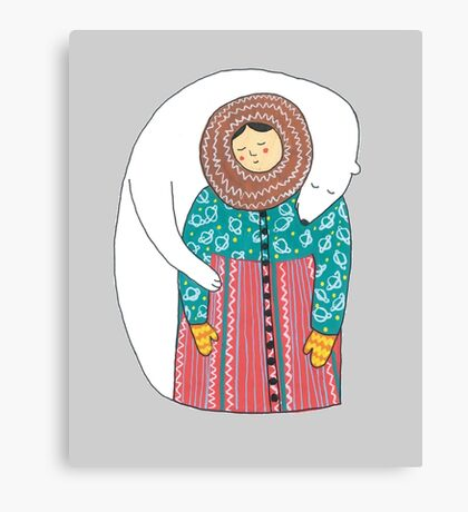 Lady And Her Polar Bear Friend Canvas Print