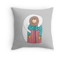 Lady And Her Polar Bear Friend Throw Pillow