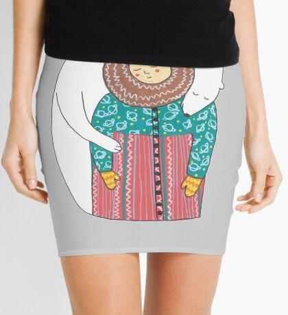 Lady And Her Polar Bear Friend Mini Skirt