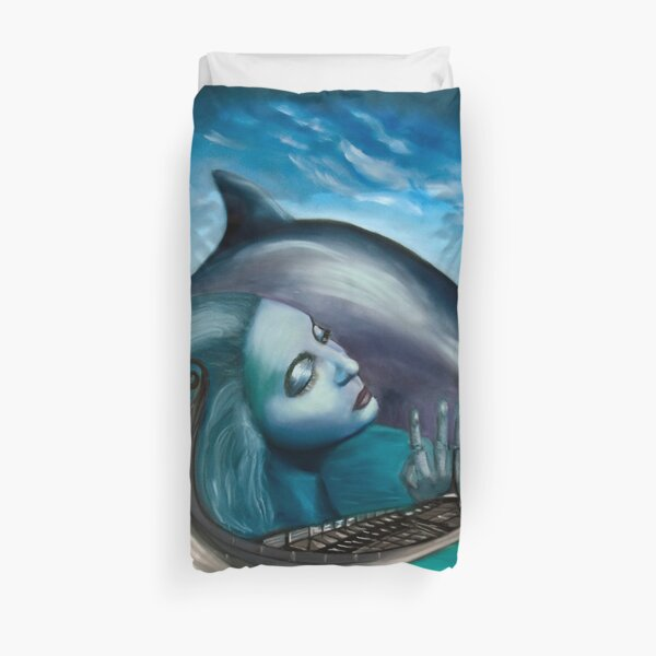 The Nereid, the Boat and the Delphine Duvet Cover