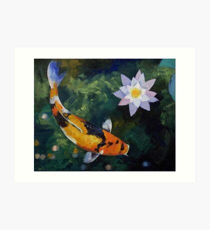 Showa Koi and Water Lily Art Print