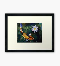 Showa Koi and Water Lily Framed Print