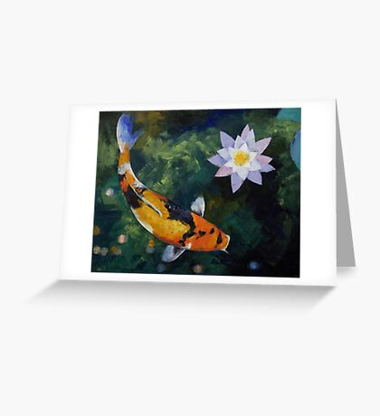 Showa Koi and Water Lily Greeting Card