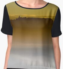 Majestic fog ocean in the mountains on sunset, Alsace, France Women's Chiffon Top