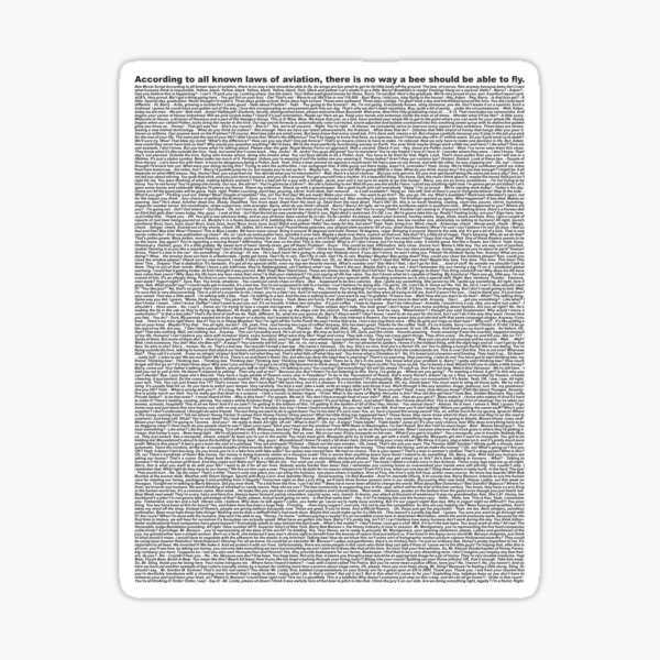 bee movie script Sticker
