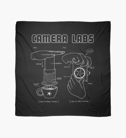 Cameralabs Photography and Coffee (White artwork) Scarf