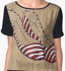 Red and white stripes Women's Chiffon Top