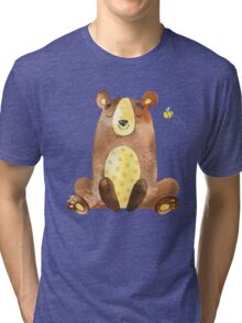 Cute Adorable Watercolor Woodland Baby Bear  Tri-blend T-Shirt