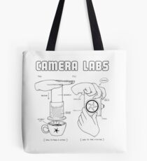 Cameralabs Photography and Coffee (Black artwork) Tote Bag