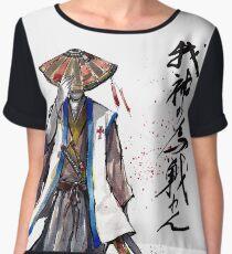 Samurai Crusader with Calligraphy Chiffon Top