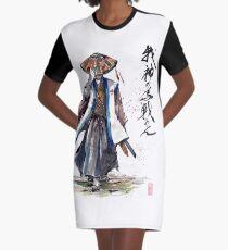Samurai Crusader with Calligraphy Graphic T-Shirt Dress