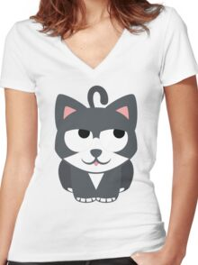 Lovely Cat Emoji Thinking Hard and Hmm Look Women's Fitted V-Neck T-Shirt