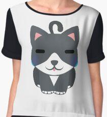 Lovely Cat Emoji Teary Eyes and Sad Look Women's Chiffon Top