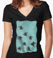 Loggerhead Sea Turtle Hatchlings Women's Fitted V-Neck T-Shirt