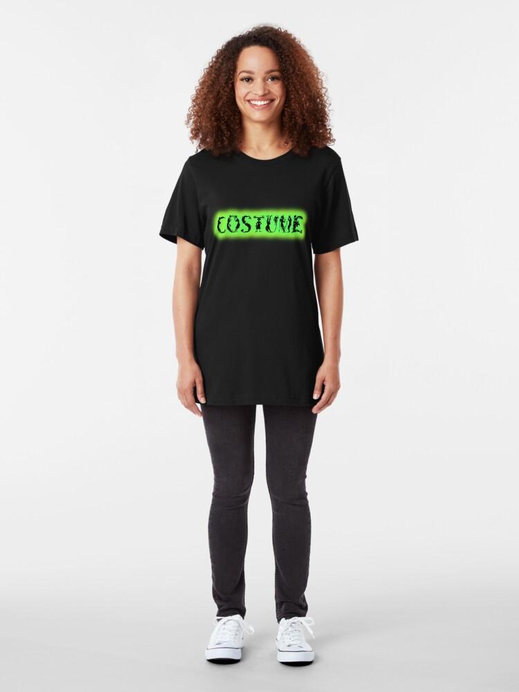Alternate view of Monster-Lettered Costume (Green) Slim Fit T-Shirt