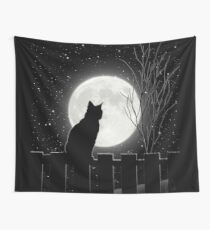 Moon Bath II, cat full moon winter night Wall Tapestry