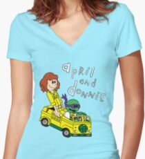 April and Donnie Women's Fitted V-Neck T-Shirt