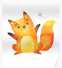 Cute Adorable Watercolor Woodland Baby Fox Poster