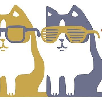 Gatos en fila de vidrios de obinsun