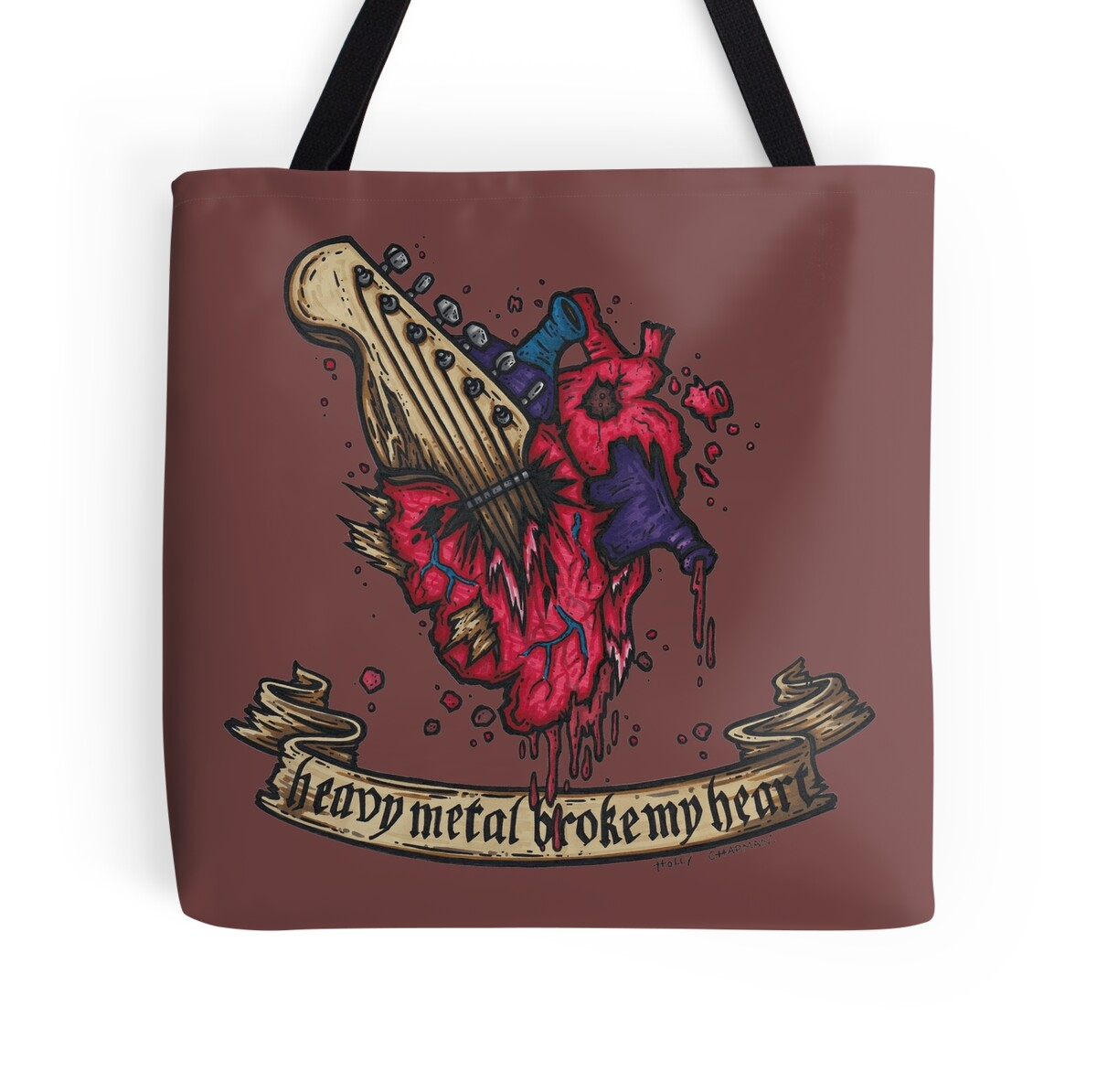 "heavy metal broke my heart!"" tote bags by holz-toons 
