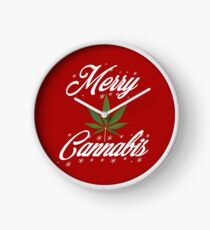 Merry Cannabis Christmas Weed & 420 T-shirt by Pot Leaf Tees Clock