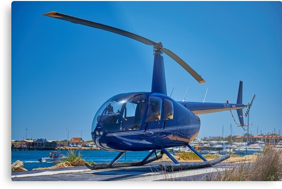 Blue Helicopter Robinson R44 by NexxtFrame