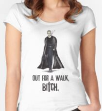 "Buffy The Vampire Slayer - Spike ""Out for a walk b#tch"" Women's Fitted Scoop T-Shirt"