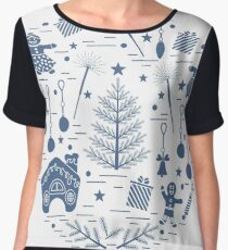 Vector illustration of different new year and christmas symbols.  Women's Chiffon Top