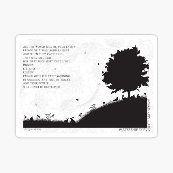 Watership Down Black and White Illustrated Quote Sticker