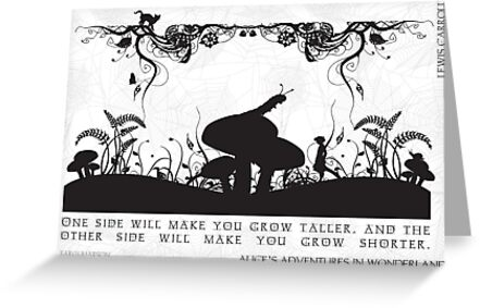 Alice's Adventures in Wonderland Black and White Illustrated Quote by Emily Hall