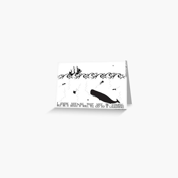 Moby Dick Black and White Illustrated Quote Greeting Card
