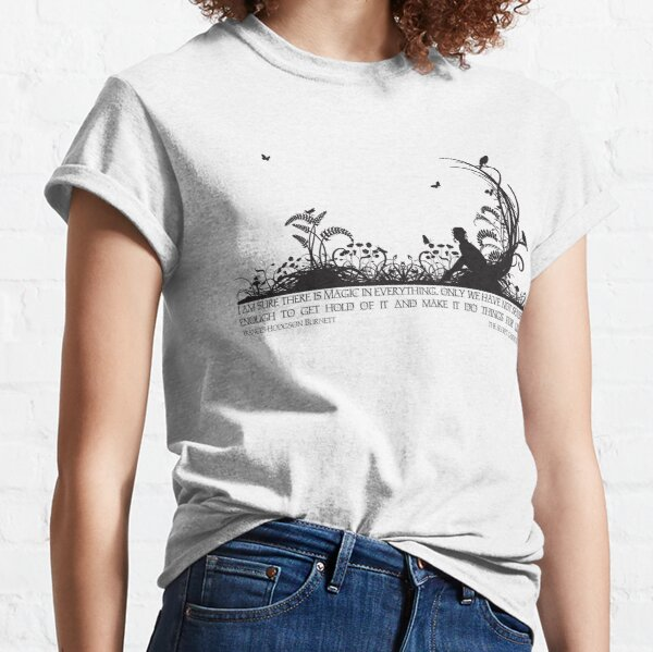 Secret Garden Black and White Illustrated Quote Classic T-Shirt