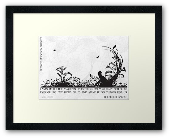 Secret Garden Black and White Illustrated Quote by Emily Hall