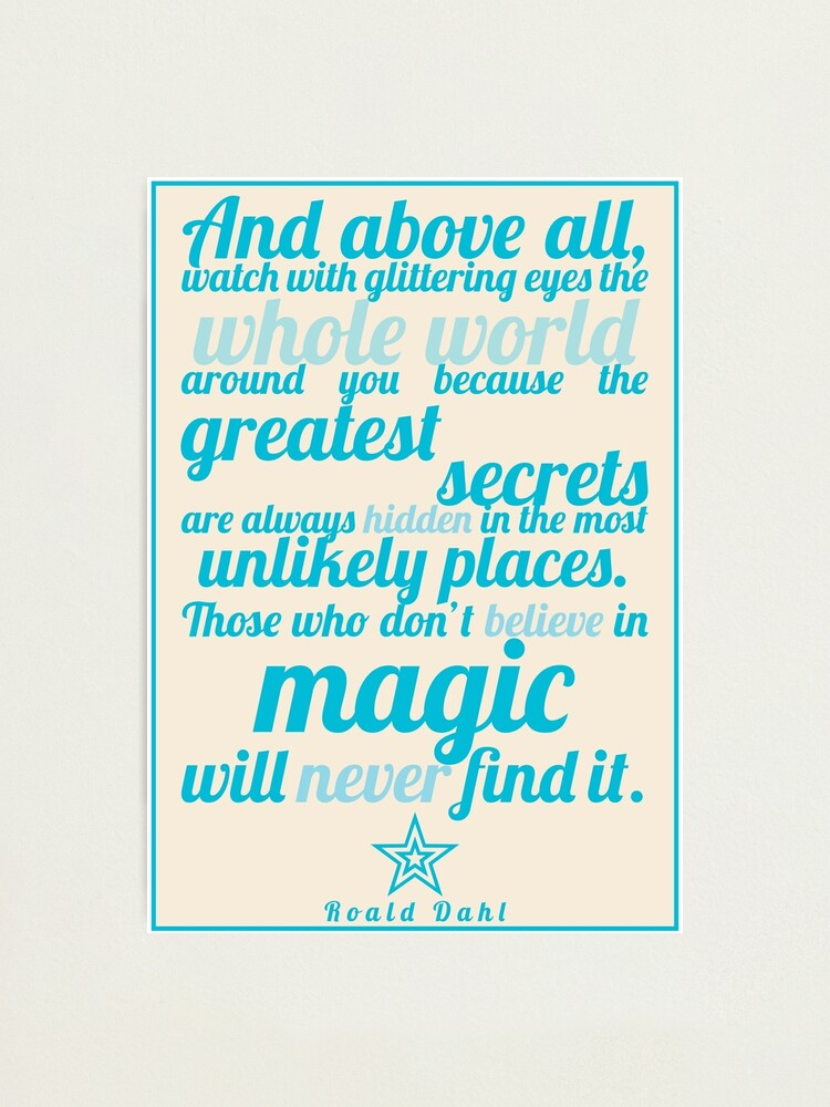 Alternate view of Roald Dahl / The Minpins Quote Photographic Print