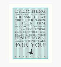 Labyrinth Jareth Movie Quote Art Print