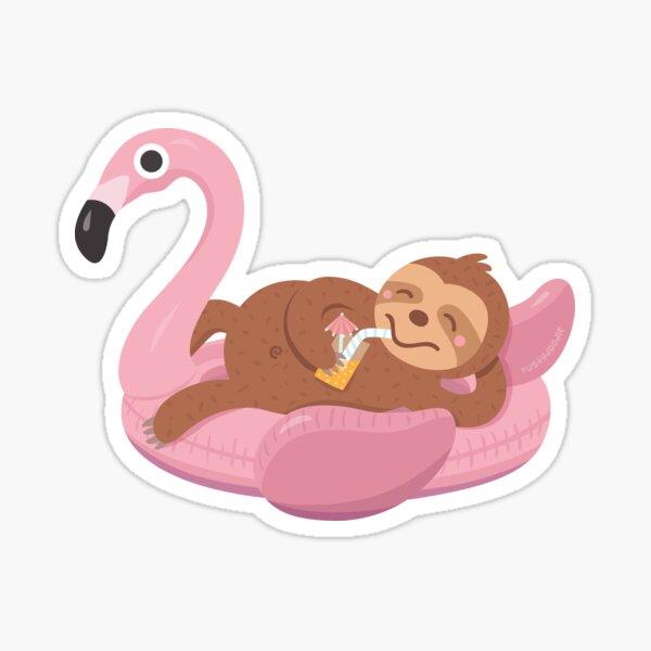 Chilling Sloth on Flamingo Float Sticker