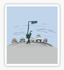 Pedestrian and It's Portable traffic light Sticker