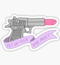 War paint feminist makeup beauty feminism girly lipstick gun typography Sticker