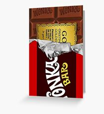 willy wonka chocolate bar cover for imagination Greeting Card