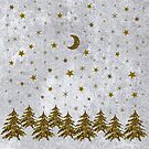 Sparkly Christmas tree, stars, moon on abstract paper by homemadecreate