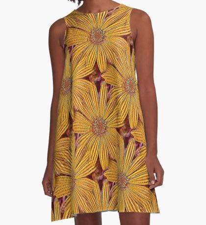 Yellow Daisy Flower Power Design A-Line Dress