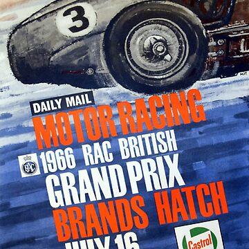 1966 British Grand Prix - Vintage Motorsport - Metal Print by projectbebop