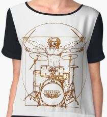 Vitruvian Drummer Man Women's Chiffon Top